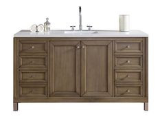 This series is an updated take on Mid-CenturyModern style.  Clean lines and a ample storage make these vanities a welcome addition to your bathroom. Hand-crafted from North American Walnut and Birch hardwoods and veneers, the Chicago series features a washed taupe finish to compliment todays interiors. The simple, modern drawer and door knobs are finished in a soft brushed satin silver color. This series also features premium soft-close drawer glides and door hinges. The cabinets ship…