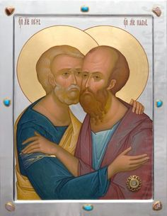 hand painted icon of holy apostles peter and paul