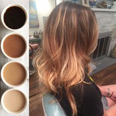 Balayage hair. Brown with blonde highlights. Coffee colored hair.