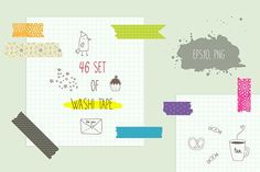 Washi Tape Clipart & Vectors Set by Lera Efremova on @creativemarket