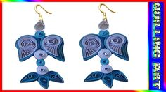 Paper quilling earrings-blue and white handmade earrings