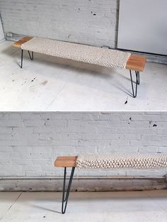 DIY: knitted wool and wood bench