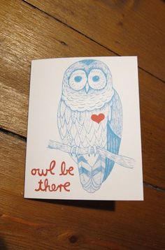 "Klappkarte ""owl be there"" von enna // card ""owl be there"" by enna via dawanda.com"