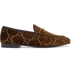 Gucci Jordaan horsebit-detailed leather-trimmed velvet-jacquard... ($730) ❤ liked on Polyvore featuring shoes, loafers, brown, velvet loafers, horsebit loafers, loafer flats, brown flats and gucci flats