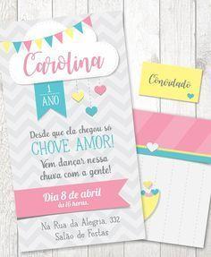 Convite Arquivo PDF + Convite Virtual - Chuva de Amor (Aniversário) La Girl, Baby Shower, Photo Book, Save The Date, New Baby Products, My Design, Alice, Bullet Journal, Paper