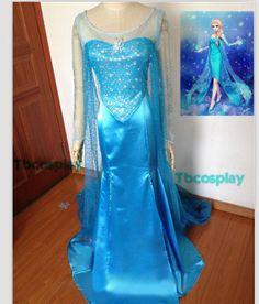 Disney Snow Queen Elsa Dress Cosplay Costume For Adult and Children
