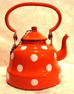 1930's German Whimsical Polka Dot Graniteware Tea Pot Photo source: Ruby Lane
