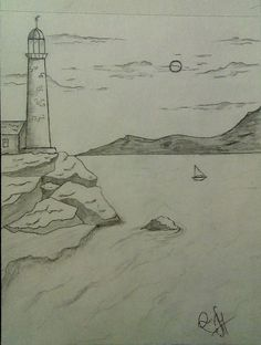 Море, Маяк, Пейзаж, Рисунок карандашом