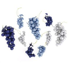 Glitter Grape Clusters Assorted Plastic Christmas Ornaments, Blues, 9-Piece Royal Blue, Light Blue, Blues, Sparkle, Glitter, Plastic, Christmas Ornaments, Colors, Tips