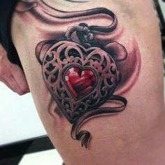 Heart locket tattoo