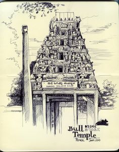 From my Sketchbook on Behance Conceptual Model Architecture, Indian Architecture, Architecture Drawings, Temple Architecture, Religious Architecture, Temple Drawing, Art Sketches, Art Drawings, City Drawing