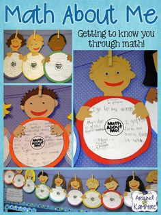 Math About Me~Back to school math craft where students define themselves using math! Perfect for back to school or Math Night!