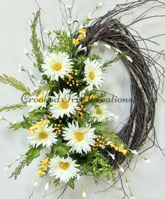 Daisy Wreath, Summer Wreath, Daisies, Wedding Wreath, Summer Door Decor, Gerber Daisies, White Yellow, Birch Wreath, Wedding Decor, Wreath Summer is here! Welcome it in with this beautiful new design from Crooked Tree Creations. Assembled on an 18 handmade oval birch base, you will find a lovely gathering of large white Gerber daisies. Trailing seasonal greenery, white and yellow wispy wildflower fillers and matching berry clusters complete this stunning floral. A real statement piece for…