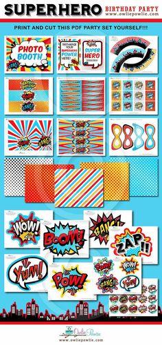 Superhero BIRTHDAY Party Printable Package & por OwliePowlie