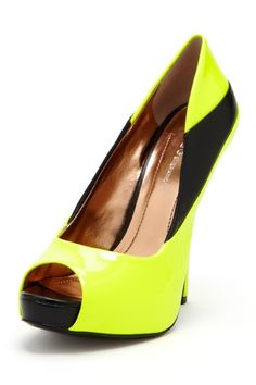 BCBGeneration- Liverty High Heel Platform- Neon Yellow and Black  $110  LOVE THESE!!