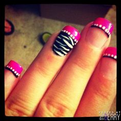 Pink and Black zebra nails. So cute!