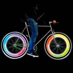Mathmos Bike Wheel Lights / Make your bikes create an enchanting view of circling lights at night by incorporating the Mathmos Bike Wheel Lights. http://thegadgetflow.com/portfolio/mathmos-bike-wheel-lights/