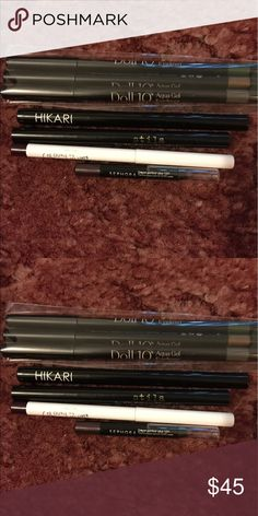 Eyeliner and Eyepencil Bundle Doll 10 3 pic eyeliner set colors included are smokey quartz, amber, and malachite, Hikari liquid eyeliner in Iris, Stila Liquid eyeliner in Intense Black, ColourPop creme gel liner in Best O, and Sephora contour eye pencil 12 hr wear  in Love Affair. All of these are brand new never been used or swatched. Makeup Eyeliner