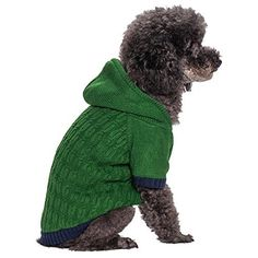 Blueberry Pet Clothes 12-Inch Back Length Twist Cable Knitted Fleece Hooded Pull Over Sweater for Dogs in Sea Green - http://www.thepuppy.org/blueberry-pet-clothes-12-inch-back-length-twist-cable-knitted-fleece-hooded-pull-over-sweater-for-dogs-in-sea-green/