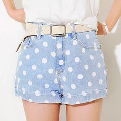 [Yubsshop] Polka Dot Denim Shorts