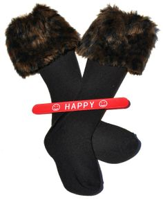 Amazon.com: Faux Fur Boot Topper Cuff Leg Warmer in Different Animal Print Designs and Colors Black Jaguar Leopard and Tiger with HAPPY Slap...