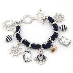 Sailor Fashion Anchor Boat Rudder Wheel Charm Bracelet Silver Color