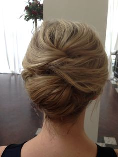 Shoulder length hair updo. This is how my hair was done for my brother's wedding and I loved it!