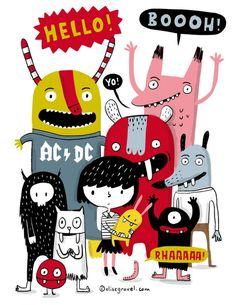Elise Gravel Little girl and monsters Illustration character design cute funny kids drawing Art And Illustration, Illustration Mignonne, Monster Illustration, Illustrations And Posters, Character Illustration, Monster Drawing, Monster Art, Kid Character, Cute Monsters