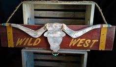 Western longhorn bull wood sign rodeo bull sign wild west wood sign western decor rustic western sign longhorn bull decoration wild west art by on Etsy Western Signs, Western Wall, Western Decor, Rustic Decor, Bull Nose Ring, West Art, Dark Wax, Gold Leather, Wild West