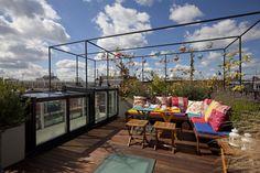 Cool roof top garden in London.