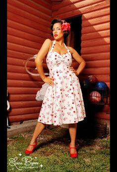 white with cherries pin-up dress