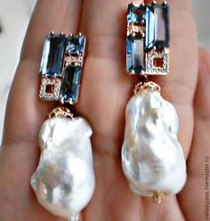 Aquamarine, diamonds, rubies n baroque pearls
