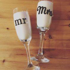Mr & Mrs champagne flute candles. #wedding #gifts #mr&mrs #madetoorder #anniversarygift #candles