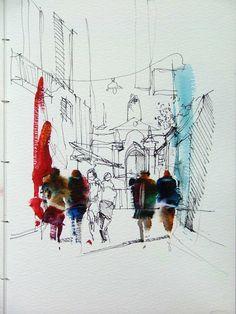 Watercolor City, Watercolor Drawing, Illustration Art Drawing, Drawing Sketches, Art Drawings Beautiful, Sketch Painting, Urban Sketching, City Art, Art Sketchbook