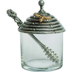 Pewter Honey Pot With Stirrer