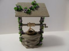 Miniature Wishing Well.  Handmade Dollhouse Miniature. Quarter Scale or Larger.  Lavender Flowers.  $18