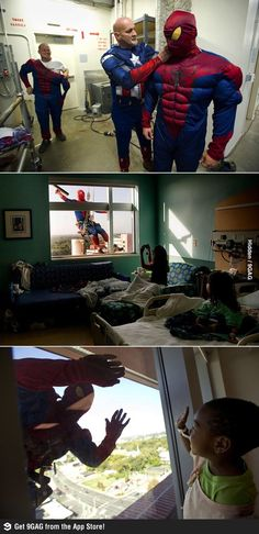 Window washers dressed as Spider-Man at a children hospital. So cute