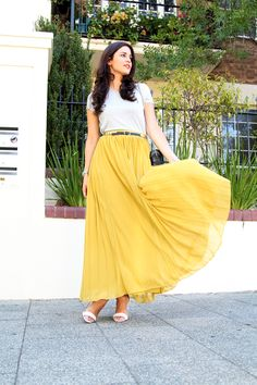 1970s Mustard Cotton Floral Maxi Skirt | Boho Hippie Long High ...