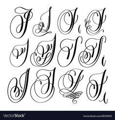 Calligraphy lettering script font i set hand vector Hand Lettering Alphabet, Hand Drawn Lettering, Script Lettering, Typography, J Calligraphy, Caligrafia Copperplate, Tattoo Lettering Design, Letter Vector, Letter J