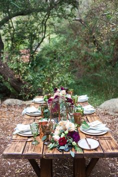 woodsy tablescape - photo by Michelle Chiu Photography http://ruffledblog.com/flora-and-fauna-wedding-inspiration