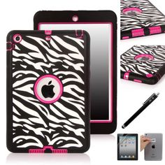 iPad Mini Case, E LV iPad Mini Case Cover - Shock-Absorption / High Impact Resistant Hybrid Dual Layer Armor Defender Full Body Protective Case Cover with 1 Screen Protector, 1 Stylus and 1 E LV Microfiber Digital Cleaner [Compatible with iPad Mini with Retina Display (7.9 inch Tablet) & iPad Mini (7.9 inch Tablet)] (Zebra Hot Pink) E LV http://www.amazon.com/dp/B00HSF3E94/ref=cm_sw_r_pi_dp_kbfpub035EGHG