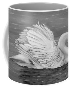 Swan Coffee Mug featuring the drawing Single Swan by Faye Anastasopoulou Fusion Art, Ocean Scenes, Lake Water, Mugs For Sale, My Themes, Basic Colors, Artist At Work, Color Show, Swan