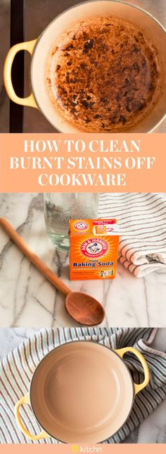 If you're the type to dominate the kitchen and constantly abusing your cookware, this how to on cleaning burnt pots and pans is just the thing you need to maintain your kitchen crockpots, pans and skillets. For a thorough cleanse, you'll need water, baking soda, a wooden spoon and a kitchen towlel.