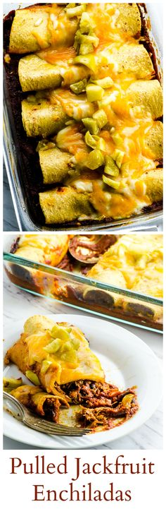 You will not miss the meat in these Pulled Jackfruit Enchiladas! Filled with spiced pulled jackfruit and on a homemade chipotle enchilada sauce. You can make them vegan or vegetarian and adjust the heat to your liking. Delicious Vegan Recipes, Vegetarian Recipes, Healthy Recipes, Savoury Recipes, Free Recipes, Mexican Food Recipes, Whole Food Recipes, Cooking Recipes, Eating Clean