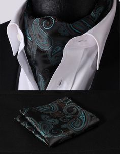 green brown men's floral ascot pocket square silk jacquard luxurious elegant pretty tuxedo cool neckwear men's accessory suit cravat with handkerchief for groom groomsmen wedding party christmas birthday husband father gift Prom Fashion For Guys, Big Man Suits, Men's Suits, Suit Fashion, Mens Fashion, Cravat Tie, Ascot Ties, Tie And Pocket Square, Brown Floral