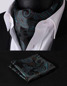 RF02G Green Black Paisley Floral Silk Cravat Woven Ascot Hanky Handkerchief Set #SetSense #Ascot