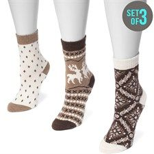 Women's 3 Pair Pack Holiday Boot Socks - Brown/Ivory Pack