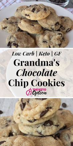 Keto Chocolate Chip Cookies You Won't Be Able To Tell The Difference Between These Delicious Cookie And Grandma's Cookies Low Carb Chocolate Chip Cookies Easy Keto Dessert Visit Keto Desserts, Keto Dessert Easy, Keto Friendly Desserts, Mini Desserts, Holiday Desserts, Stevia Desserts, Cheap Dessert Recipes, Cheap Recipes, Health Desserts