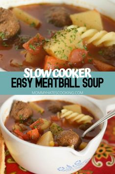 Slow Cooker Meatball Soup is a go-to during soup season. It can simmer all day long, then you can enjoy it with Homemade Cornbread. Vegetable Crockpot Recipes, Chili Recipes, Slow Cooker Recipes, Instant Pot Dinner Recipes, Easy Dinner Recipes, Easy Meals, Homemade Cornbread, Meatball Soup, Side Recipes