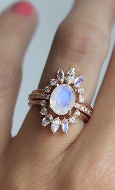 Ice Wedding Ring Set Moonstone Engagement Ring Set of 3 Jewlz